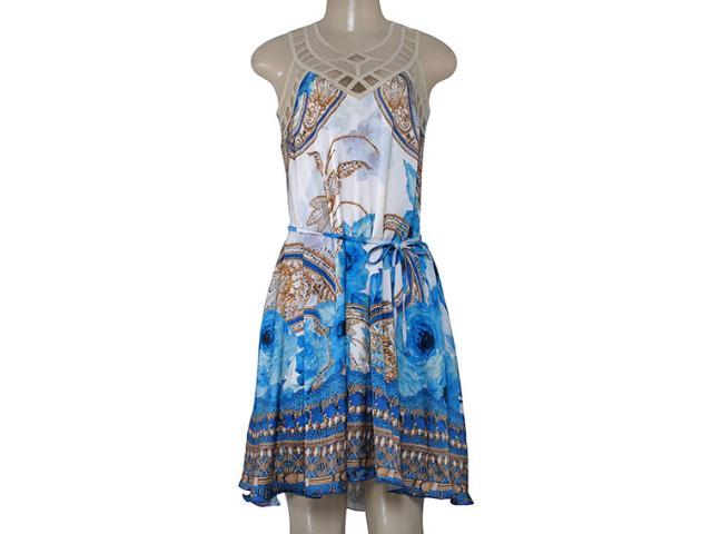 Vestido Feminino Intuição 152529 1925 Branco/azul/bege