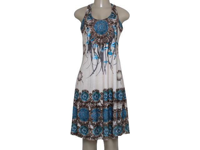 Vestido Feminino Intuição 152623 Bege/marrom/azul