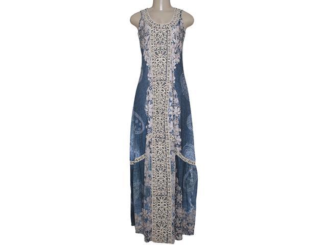 Vestido Feminino Intuição 152540 1906 Azul Floral Bege