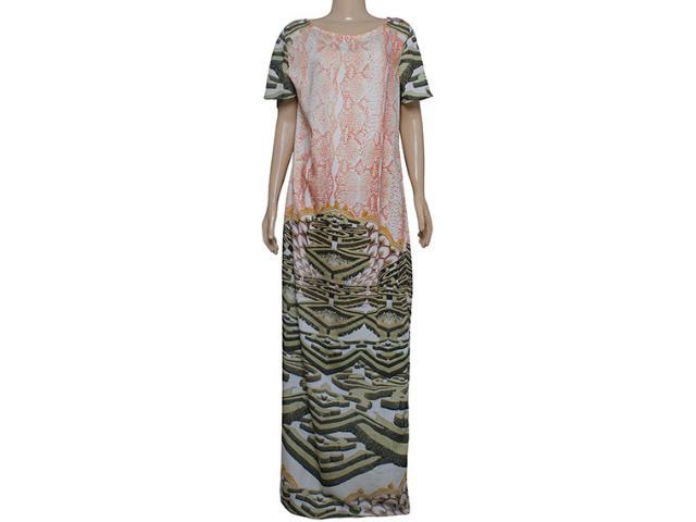 Vestido Feminino Maria Valentina 103339 Estampado Off White/laranja
