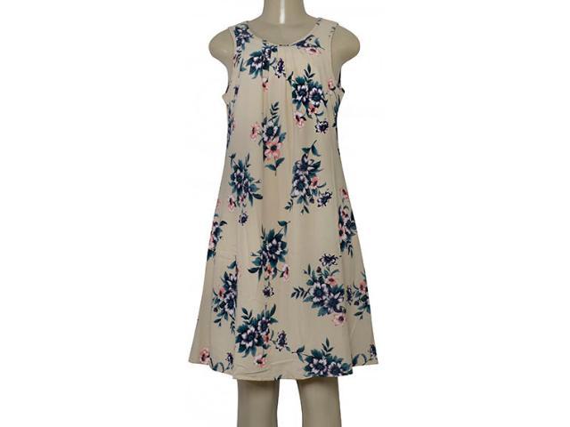 Vestido Feminino Miose 12734 Bege Floral