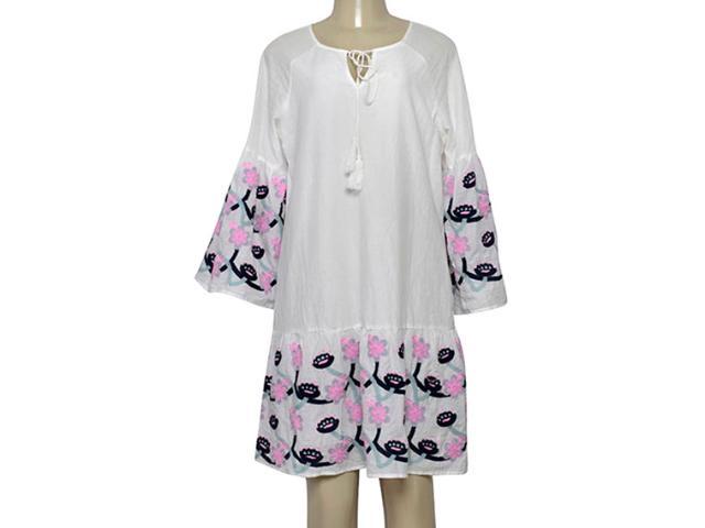 Vestido Feminino Miose 13212 Branco Estampado