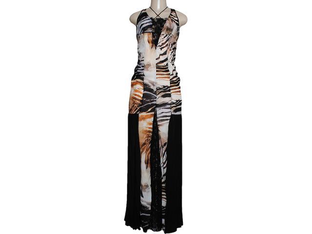 Vestido Feminino Moikana 11091 Estampado Caqui/preto