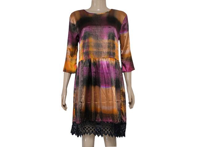 Vestido Feminino Moikana 12027 Magenta/preto