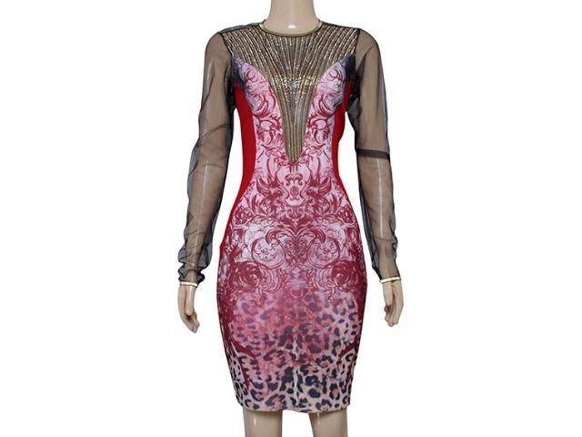 Vestido Feminino Moikana 12007 Vermelho/preto