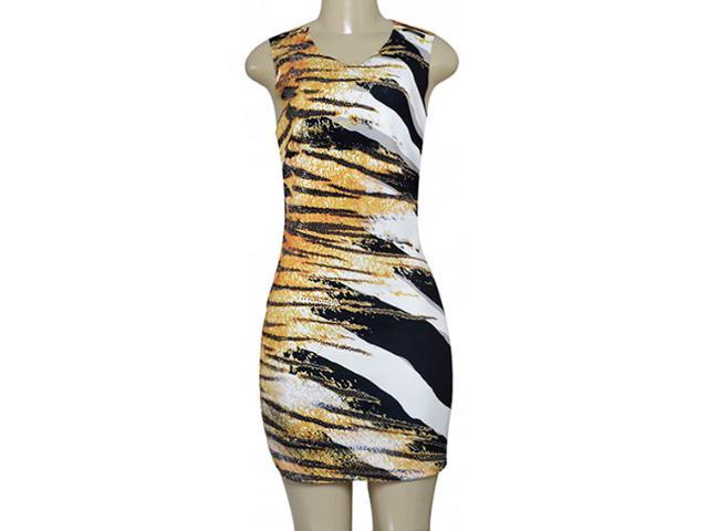 Vestido Feminino Moikana 180195c Preto/off White/amarelo