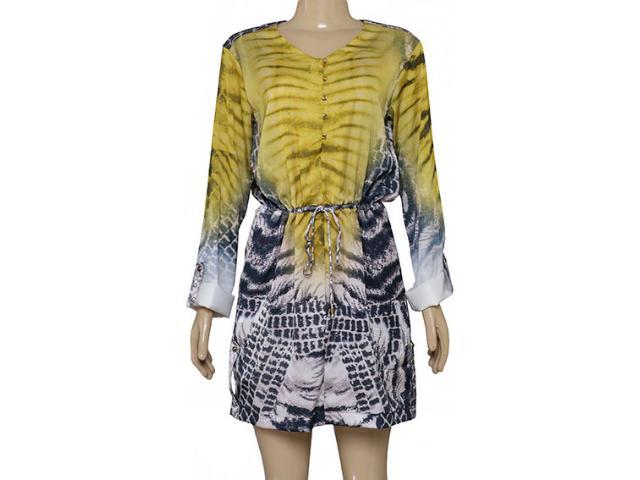 Vestido Feminino Moikana 180184 Amarelo Estampado
