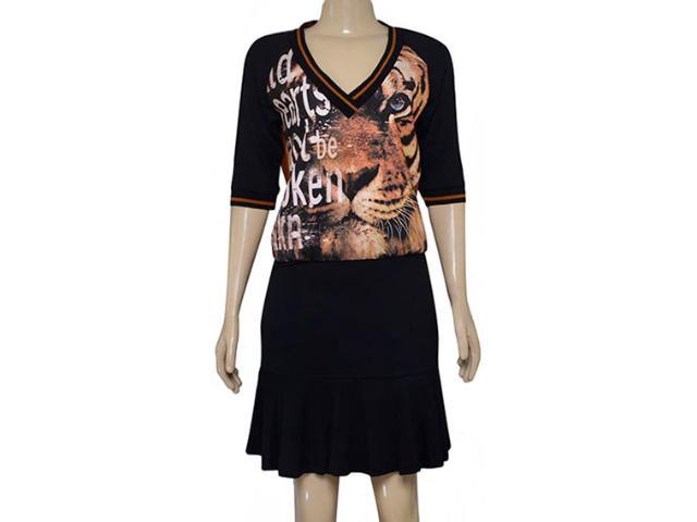 Vestido Feminino Moikana 180032 Preto/ocre
