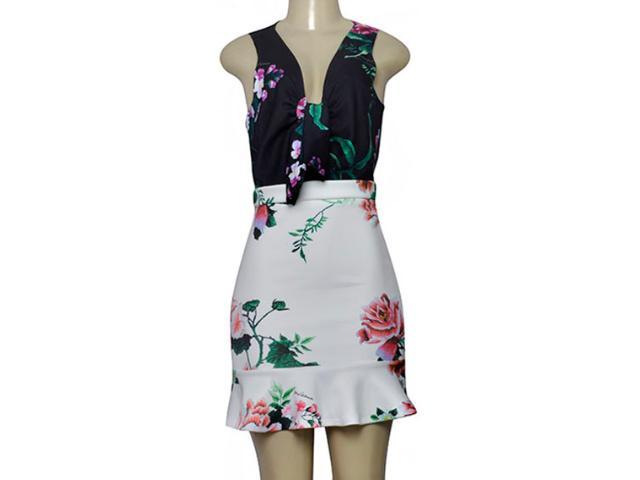 Vestido Feminino Moikana 230013 Preto/branco/floral