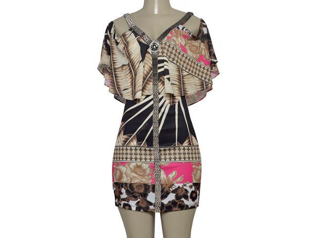 Vestido Feminino Moikana 230155 Bege/preto