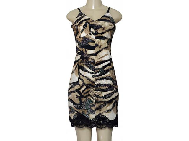 Vestido Feminino Moikana 180036 Caqui/preto