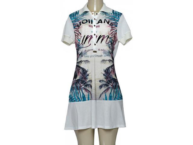 Vestido Feminino Moikana 190001 Off White Estampado