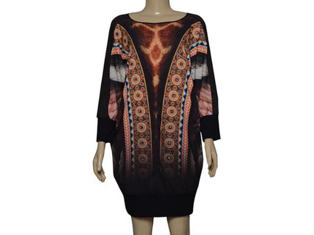 Vestido Feminino Moikana 180016 Preto Estampado