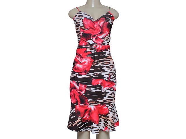 Vestido Feminino Morena Rosa 103633 Estampado Preto/vermelho