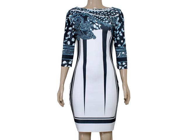 Vestido Feminino Morena Rosa 103987 Estampado Off White/preto Azul