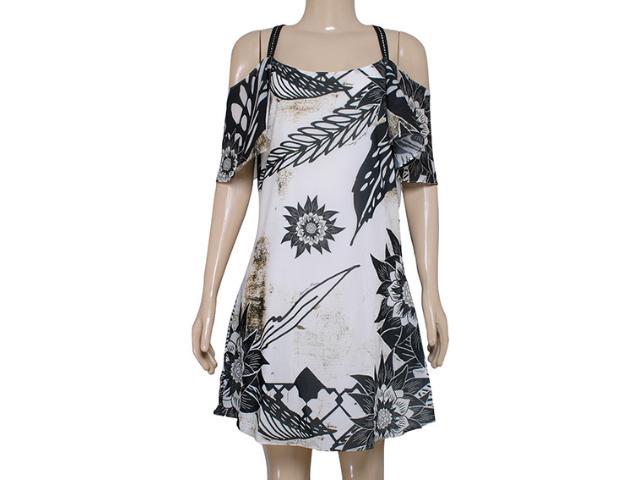 Vestido Feminino Morena Rosa 104068 Off White/estampado Preto