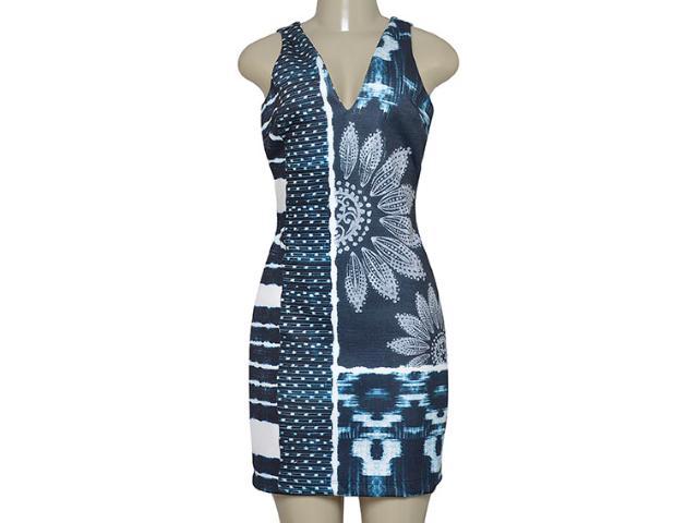 Vestido Feminino Morena Rosa 104390 Estampado Off White/azul