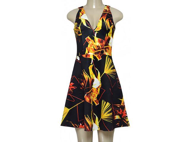 Vestido Feminino Morena Rosa 105070 Estampado Preto/amarelo