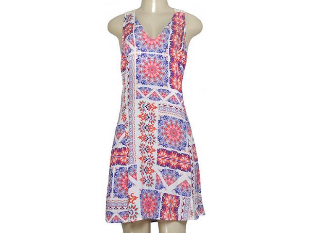 Vestido Feminino Zinco 103338 Off White/laranja/roxo