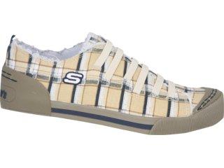Tênis Feminino Skechers 36665 Xadrez Bege - Tamanho Médio