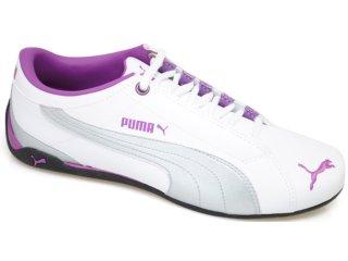Tênis Feminino Puma 468073 Bco/prt/roxo - Tamanho Médio