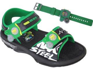 Sandália Masc Infantil Grendene Max Steel 20770 Preto/verde - Tamanho Médio
