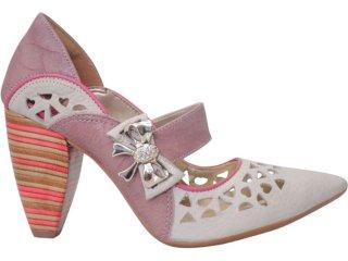 Sapato Feminino Tanara 2022 Gelo/rose - Tamanho Médio