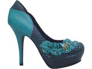 Sapato Feminino Tanara 2101 Marinho/turquesa - Tamanho Médio