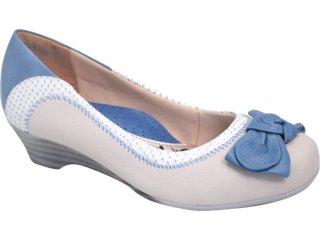 Sapato Feminino Campesi 1811 Perola/azul Jeans - Tamanho Médio