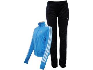 Abrigo Feminino Adidas V35425 Azul/preto - Tamanho Médio