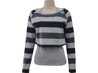 Blusa Cropped Feminino Hering 4c4d 1a00s Cinza - Tamanho Médio
