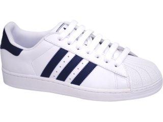 Tênis Masculino Adidas Star G17070 Branco/marinho - Tamanho Médio