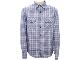 Camisa Masculina Hering H20w P46ghw Xadrez Azul - Tamanho Médio