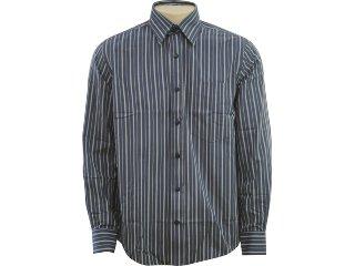 Camisa Masculina Hering Kq28 1msi Listrado Grafite - Tamanho Médio