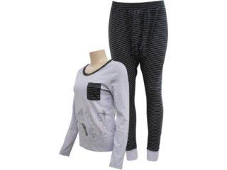 Pijama ml Feminino Hering 7690 Nlk10 Grafite - Tamanho Médio