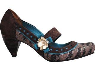 Sapato Feminino Tanara 2334 Grafite/turquesa - Tamanho Médio