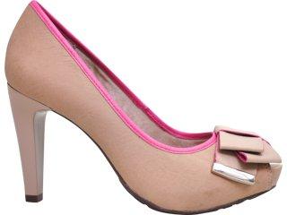Sapato Feminino Ramarim 1120133 Amendoa/pink - Tamanho Médio