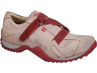 Sapato Masculino Ferricelli 641 Gelo/vermelho - Tamanho Médio