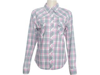 Camisa Feminina Dona Florinda 36862 Xadrez Rosa - Tamanho Médio