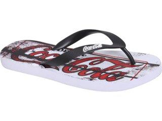 Chinelo Masculino Coca-cola Shoes Cc1270007 Branco/preto - Tamanho Médio