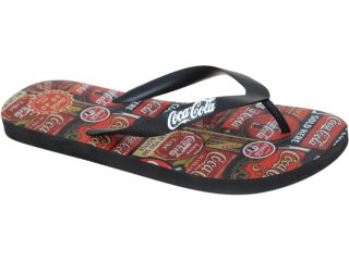 Chinelo Masculino Coca-cola Shoes Cc1270006 Preto - Tamanho Médio