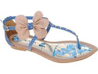 Sandália Feminina Ala 3687 Azul Jeans - Tamanho Médio