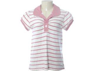 Blusa Feminina Hering Ku20 1ssi Listrado Rosa Antigo - Tamanho Médio
