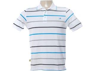 Camisa Masculina Adidas O04293 Branco Listrado - Tamanho Médio