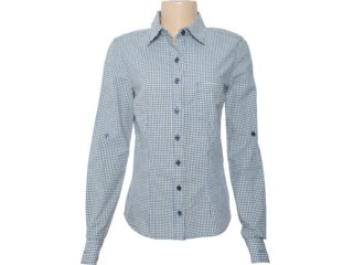 Camisa Feminina Hering H7gr P41gwe Xadrez Azul - Tamanho Médio
