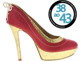 Sapato Feminino Sole D'oro 8012 Vermelho/dourado - Tamanho Médio