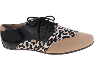 Sapato Feminino Sole D'oro 5073 Onca/preto - Tamanho Médio
