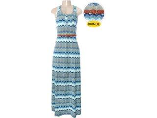Vestido Cinto Feminino Hering 09h2 1e00s Azul/bege - Tamanho Médio