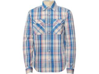 Camisa Masculina Dzarm Zl6a 1asi Xadrez Bege/azul - Tamanho Médio