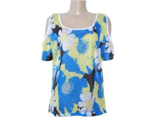 Blusa Feminina Dopping 015652521 Floral Azul/verde - Tamanho Médio